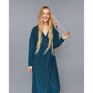 NWT Zara Metallic Crossover Wrap Maxi Dress